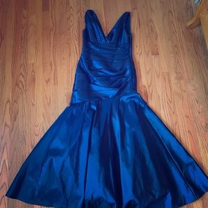 Navy Shimmery Deep V-Neck Gown